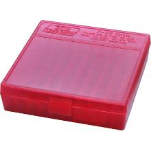 MTM 100RND HANDGUN AMMO BOX 38SPL 357MAG CLEAR RED