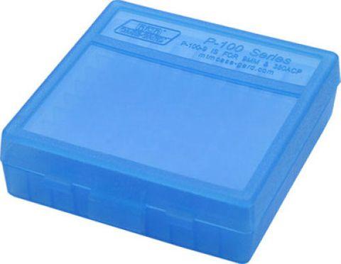 MTM 100RND HANDGUN AMMO BOX 9MM 380ACP CLEAR BLUE