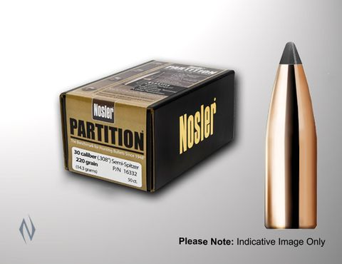 NOSLER 338CAL .338 210GR PARTITION PROJECTILES 50PK