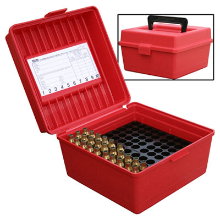 MTM 100RND DELUXE AMMO BOX 22-250 30-06 9.3X74R RED