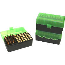 MTM 50RND AMMO BOX 220 SWIFT 30-06-458 CLEAR GREEN