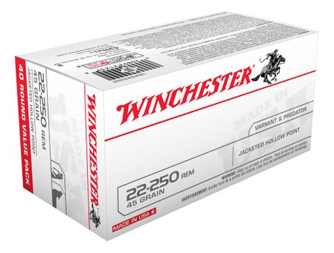 WINCHESTER USA VALUE PACK 22-250REM 45GR JHP 40PKT