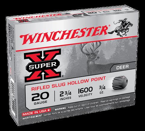 WINCHESTER SUPER X RIFLED SLUG 1600FPS 20GA 21GR 5PKT