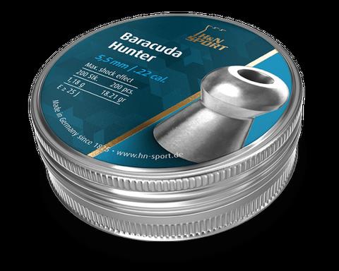 H & N BARACUDA HUNTER 18.21GR .22 PELLET 200PKT
