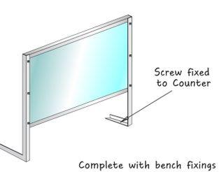 Bench-top fixed Acryclic Counter Sneezeguard