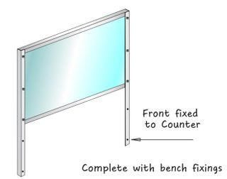 Front fixed Polycarb Counter Sneezeguard