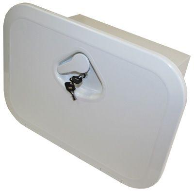 Nuova Deluxe Storage Hatches - White with Storage Box & Lock