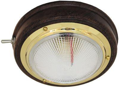 LIGHT CABIN DOME TEAK/BRASS 100MM