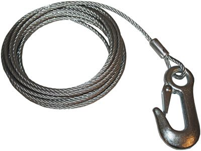 Trailer Winch Cable 6x19 Galv Wire with Snap Hook