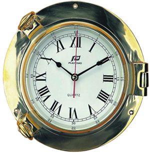 PLASTIMO CLOCK BRASS PORTHOLE 125MM