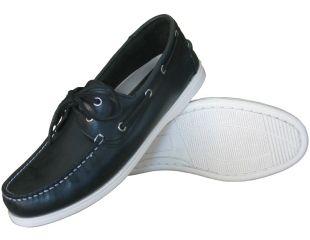 Burke Flinders Navy Leather Boating Shoes