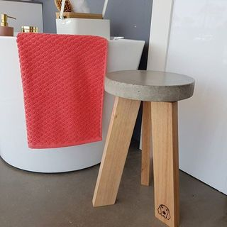 Handmade Concrete and Timber Stool