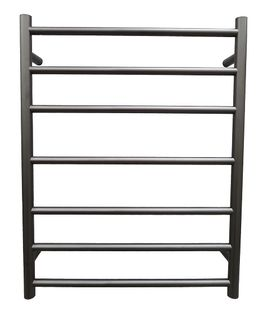 Heated Towel Rail Round 7 Bar Black Dual