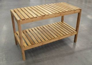Bamboo Stool Plus Shelf 79x37x50cm