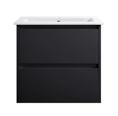 Amber 600 MATT BLACK Wall Hung Vanity Cabinet Only