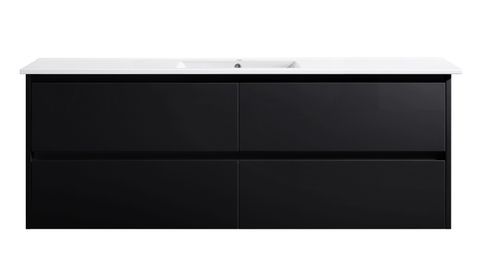 Amber 1500 MATT BLACK Wall Hung Vanity Cabinet Only