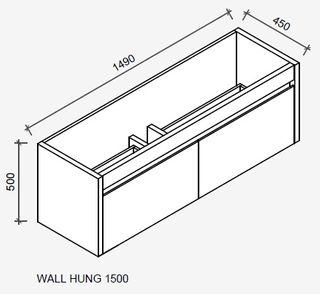 Derwent 1500 Wall Hung Tas Oak Cabinet Only