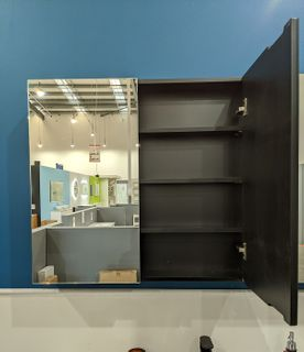 600 Pencil Edge Mirror Cabinet Black