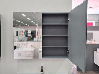600 Pencil Edge Mirror Cabinet Grey