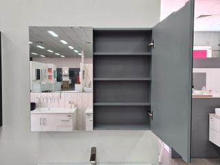 750 Pencil Edge Mirror Cabinet Grey