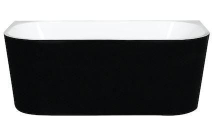 Wall Faced Freestanding Bath Matt Black 1500