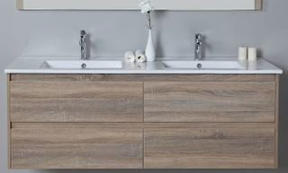 Leo 1500 Double Bowl Wall Hung Vanity Cabinet Only