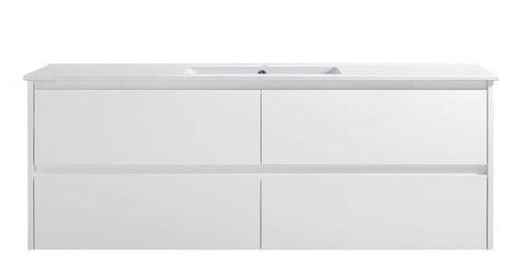 Amber 1500 MATT WHITE Wall Hung Vanity Cabinet Only
