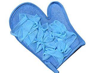 Blue Mesh Massage Glove