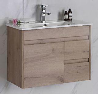 York Slimline 750 Timber Look Wall Hung Vanity Cabinet