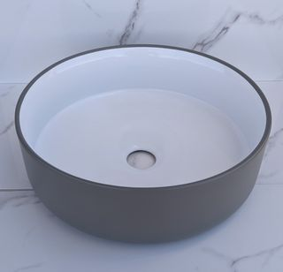 Mersey Matt Grey/(Gloss)White A/C Basin