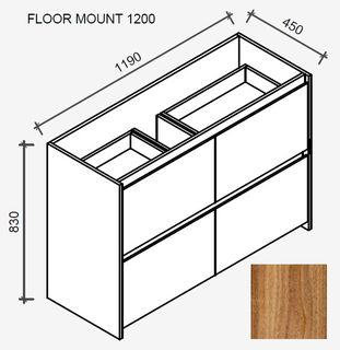 Amelia Tasmanian Blackwood Floor Mount Vanity 1200 Cabinet Only