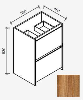 Amelia Tasmanian Blackwood Floor Mount Vanity 600 Cabinet Only
