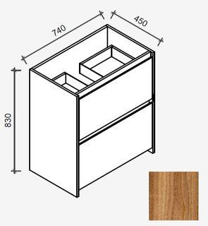Amelia Tasmanian Blackwood Floor Mount Vanity 750 Cabinet Only