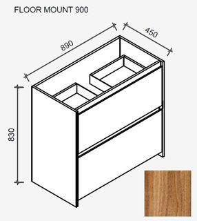 Amelia Tasmanian Blackwood Floor Mount Vanity 900 Cabinet Only