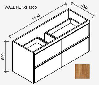 Amelia Tasmanian Blackwood Wall Hung Vanity 1200 Cabinet Only