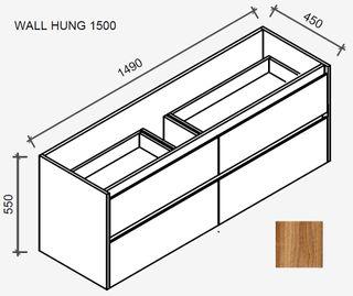 Amelia Tasmanian Blackwood Wall Hung Vanity 1500 Cabinet Only