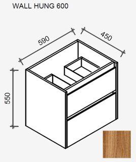 Amelia Tasmanian Blackwood Wall Hung Vanity 600 Cabinet Only