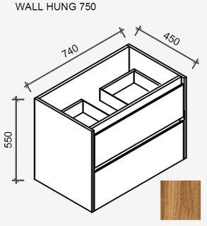 Amelia Tasmanian Blackwood Wall Hung Vanity 750 Cabinet Only