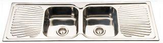 Sink Sq Cnr 1380 Double Bowl/Double Dr