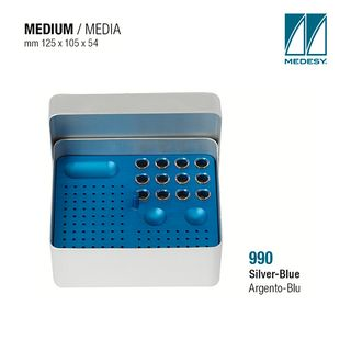 ENDODONTIC FILE BOX SILVER w BLUE INSERT 125x105x54mm