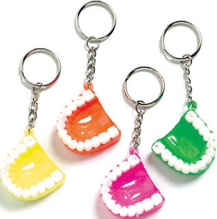 NEON TOOTH KEYCHAINS 24 PACK