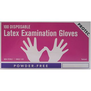PROTEC LATEX POWDER FREE MEDIUM GLOVES