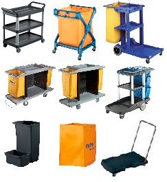 JANITORS CARTS AND ACCESSORIES