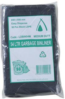 GARBAGE BAGS 54L BLACK PACK 50