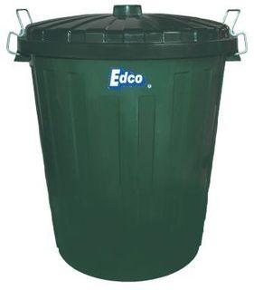 EDCO 55 LITRE PLASTIC GARBAGE BIN BLACK