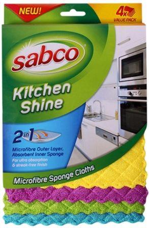 SABCO KITCHEN SHINE MICROFIBRE PKT 4