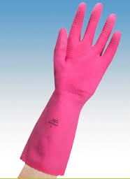 ANSELL PINK RUBBER GLOVES SIZE 7.5