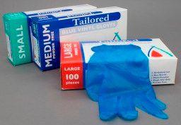 BLUE DISP. VINYL GLOVES - MED BOX 100
