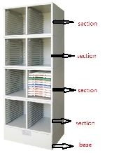 Slide Tray Storage Cabinet 450 x 310 x 270mm Stainless Steel to Hold 24 Slide Trays (1 Section Only)