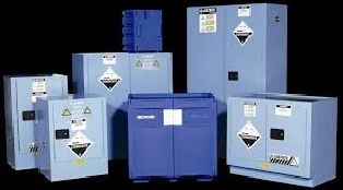 Corrosive Storage Cabinet Polyethylene Blue 30lt, 2 Shelves, 2 Door